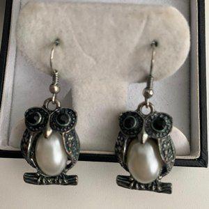 Vintage marcasite owl earrings